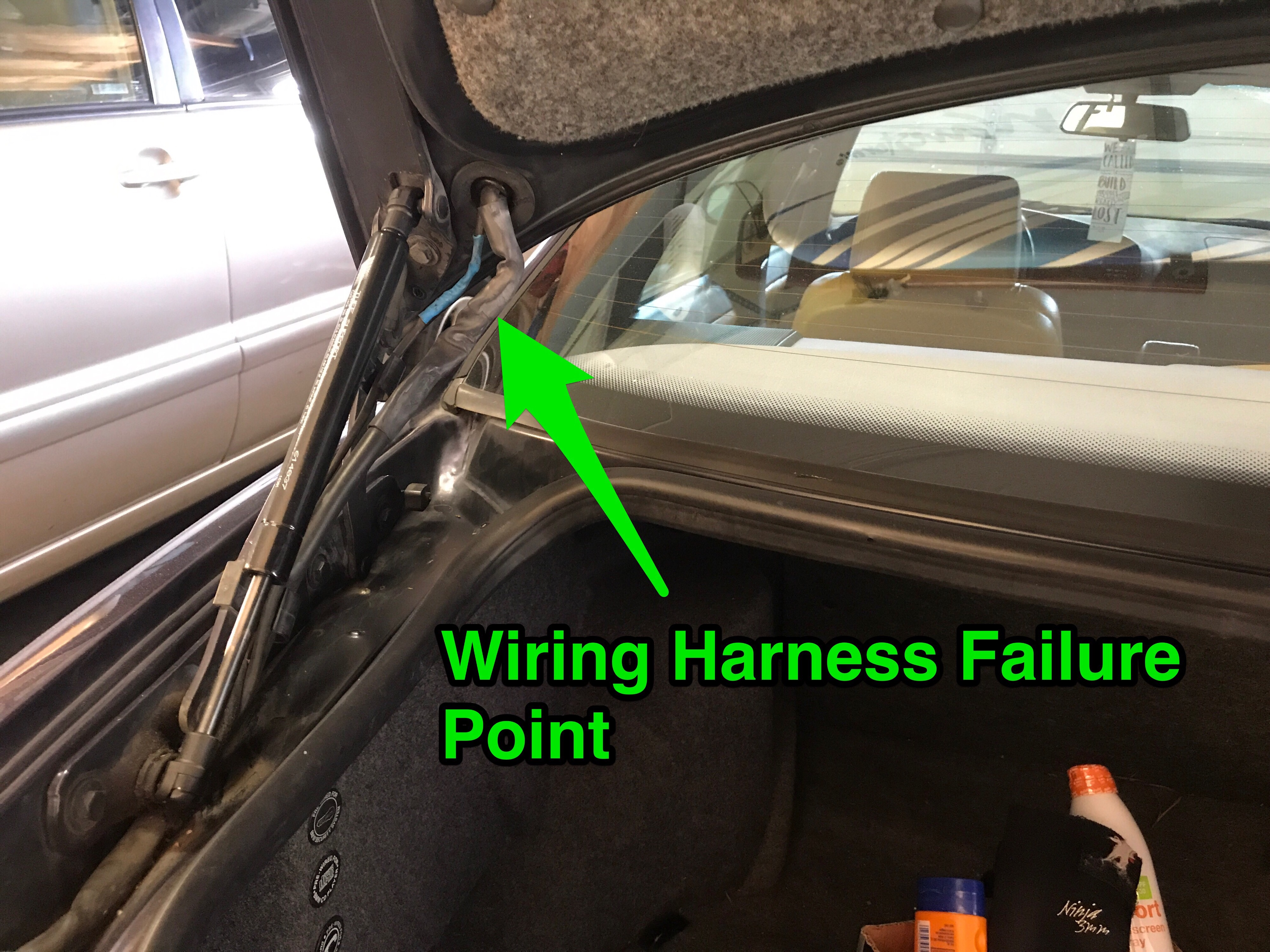 Bmw E36 Trunk Wiring Diagram Instructions 325is Harness Bend And Eventual Failure Point Due To Open Closure